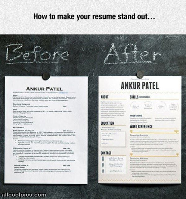 make your resume stand out cool pictures